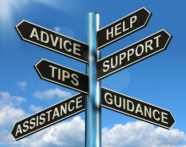 Directional Sign Post Advice Help Support Tips Guidance Assistance