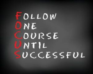 Chalkboard with the Word Focus Spells Out Follow One Course Until Successful