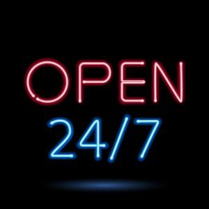 Neon Sign that Says Open 24/7