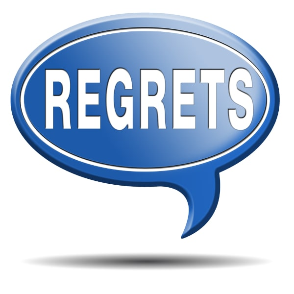 Blue Quote Bubble with the Word Regrets