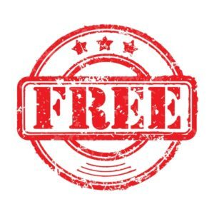 Red Rubber Stamp of the Word Free