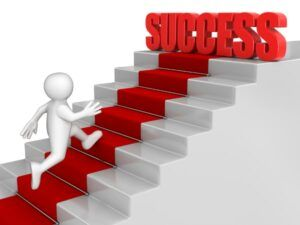 Man Running up Red Carpeted Stairs to the Word Success