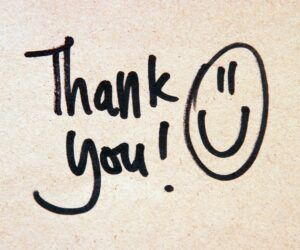 Handwritten Sticky Note that Says Thank You