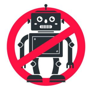 Sign with Red Circle and Line Through Robot